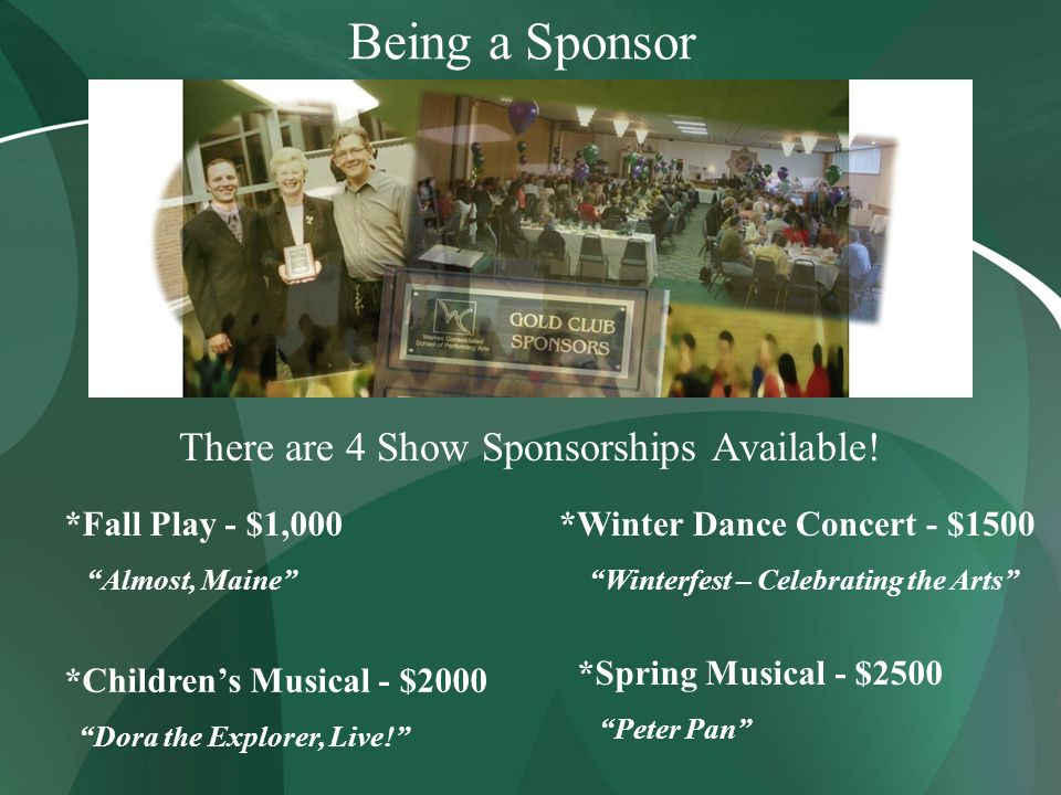 Being a Sponsor There are 4 Show Sponsorships Available.