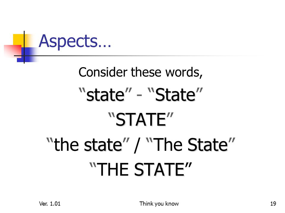 """Ver. 1.01Think you know19 Aspects… Consider these words, stateState """"state"""" - """"State"""" STATE """"STATE"""" stateState """"the state"""" / """"The State"""" STATE """"THE ST"""