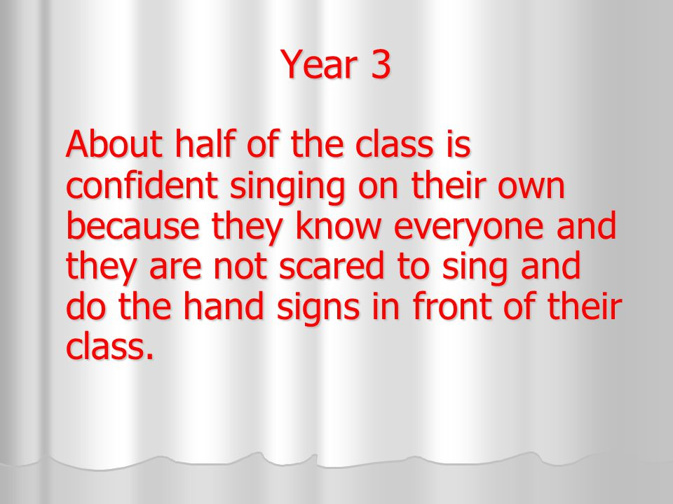 Year 3 About half of the class is confident singing on their own because they know everyone and they are not scared to sing and do the hand signs in front of their class.