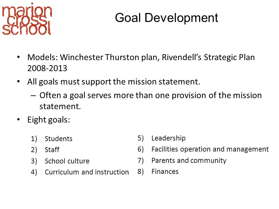 Goal Development Models: Winchester Thurston plan, Rivendell's Strategic Plan 2008-2013 All goals must support the mission statement.