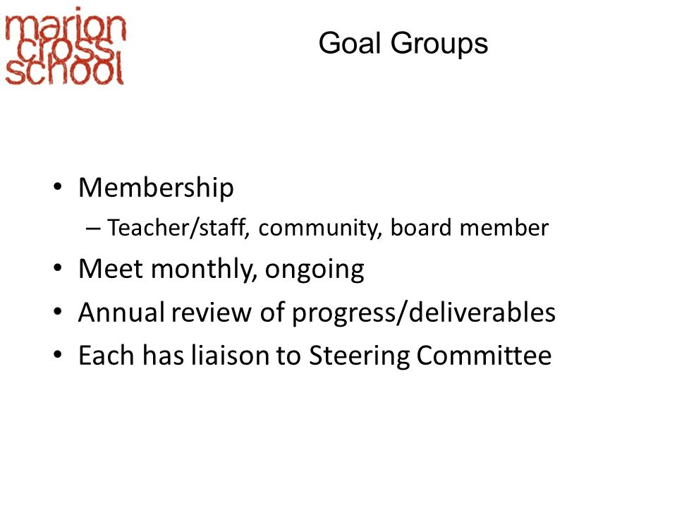 Goal Groups Membership – Teacher/staff, community, board member Meet monthly, ongoing Annual review of progress/deliverables Each has liaison to Steering Committee