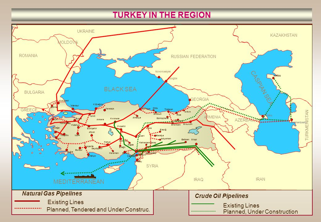 TURKEY IN THE REGION Existing Lines Planned, Tendered and Under Construc. Natural Gas Pipelines Planned, Under Construction Crude Oil Pipelines Existi