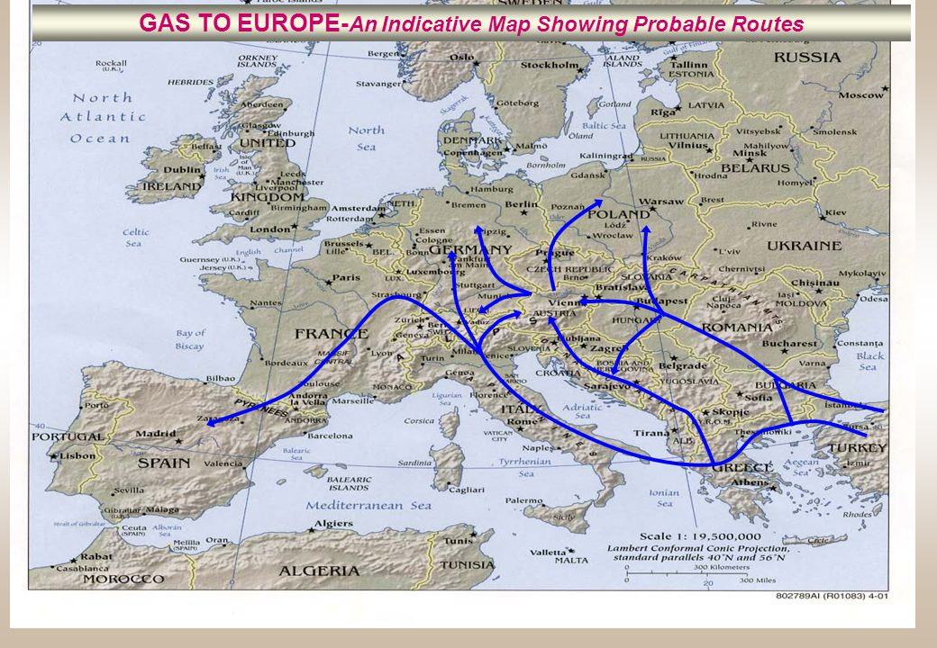 GAS TO EUROPE- An Indicative Map Showing Probable Routes