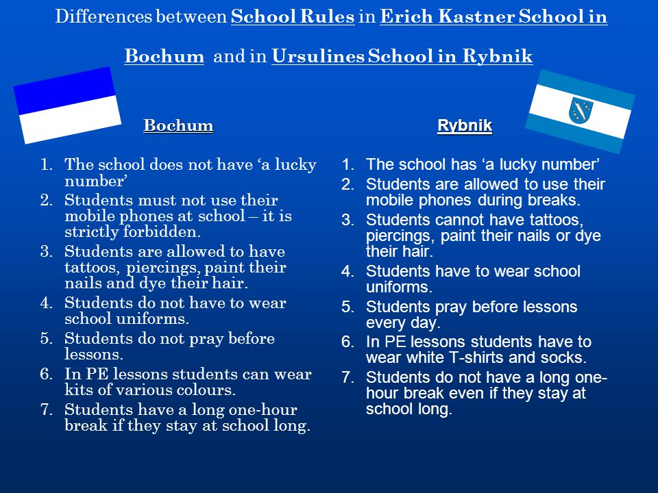 Differences between School Rules in Erich Kastner School in Bochum and in Ursulines School in Rybnik Bochum 1.The school does not have 'a lucky number' 2.Students must not use their mobile phones at school – it is strictly forbidden.