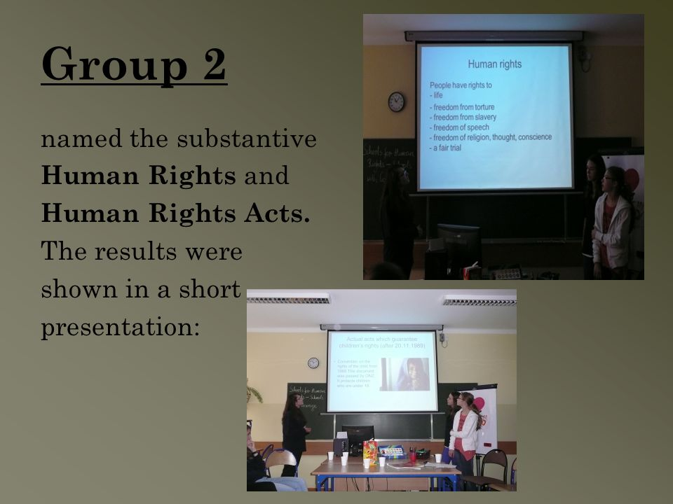 Group 2 named the substantive Human Rights and Human Rights Acts.