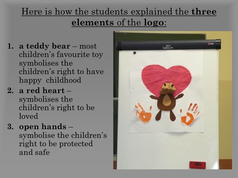 Here is how the students explained the three elements of the logo : 1.a teddy bear – most children's favourite toy symbolises the children's right to have happy childhood 2.a red heart – symbolises the children's right to be loved 3.open hands – symbolise the children's right to be protected and safe