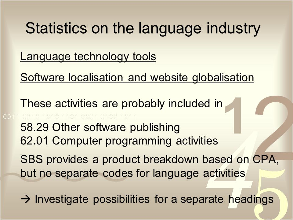 Statistics on the language industry Language technology tools Software localisation and website globalisation These activities are probably included in 58.29 Other software publishing 62.01 Computer programming activities SBS provides a product breakdown based on CPA, but no separate codes for language activities  Investigate possibilities for a separate headings