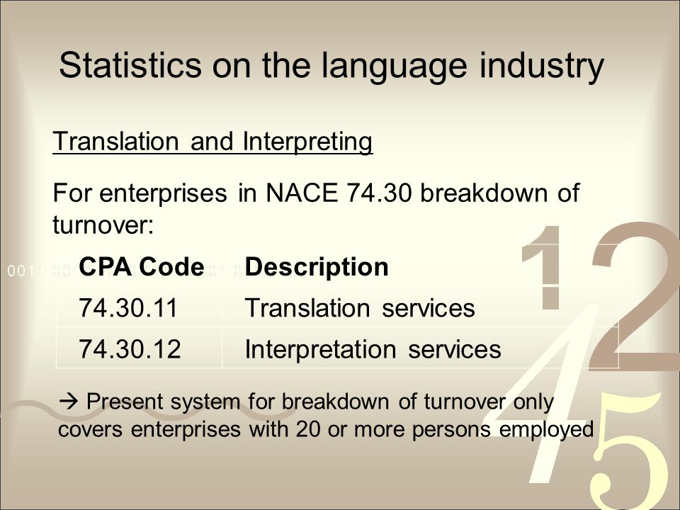 Statistics on the language industry Translation and Interpreting For enterprises in NACE 74.30 breakdown of turnover: CPA CodeDescription 74.30.11Translation services 74.30.12Interpretation services  Present system for breakdown of turnover only covers enterprises with 20 or more persons employed