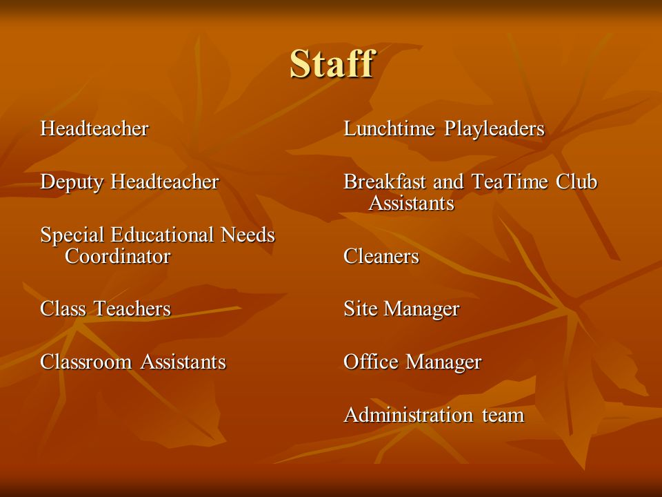 Staff Headteacher Deputy Headteacher Special Educational Needs Coordinator Class Teachers Classroom Assistants Lunchtime Playleaders Breakfast and TeaTime Club Assistants Cleaners Site Manager Office Manager Administration team