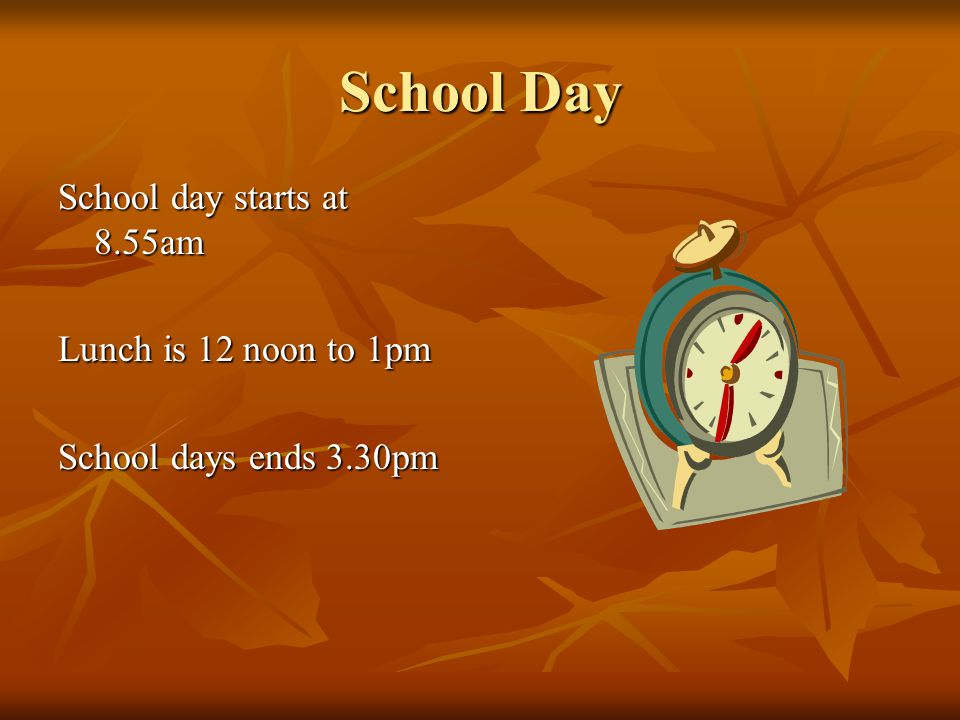 School Day School day starts at 8.55am Lunch is 12 noon to 1pm School days ends 3.30pm