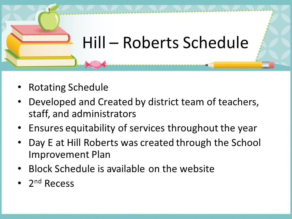 Hill – Roberts Schedule Rotating Schedule Developed and Created by district team of teachers, staff, and administrators Ensures equitability of servic