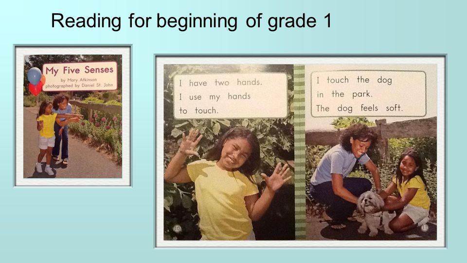 Reading for beginning of grade 1