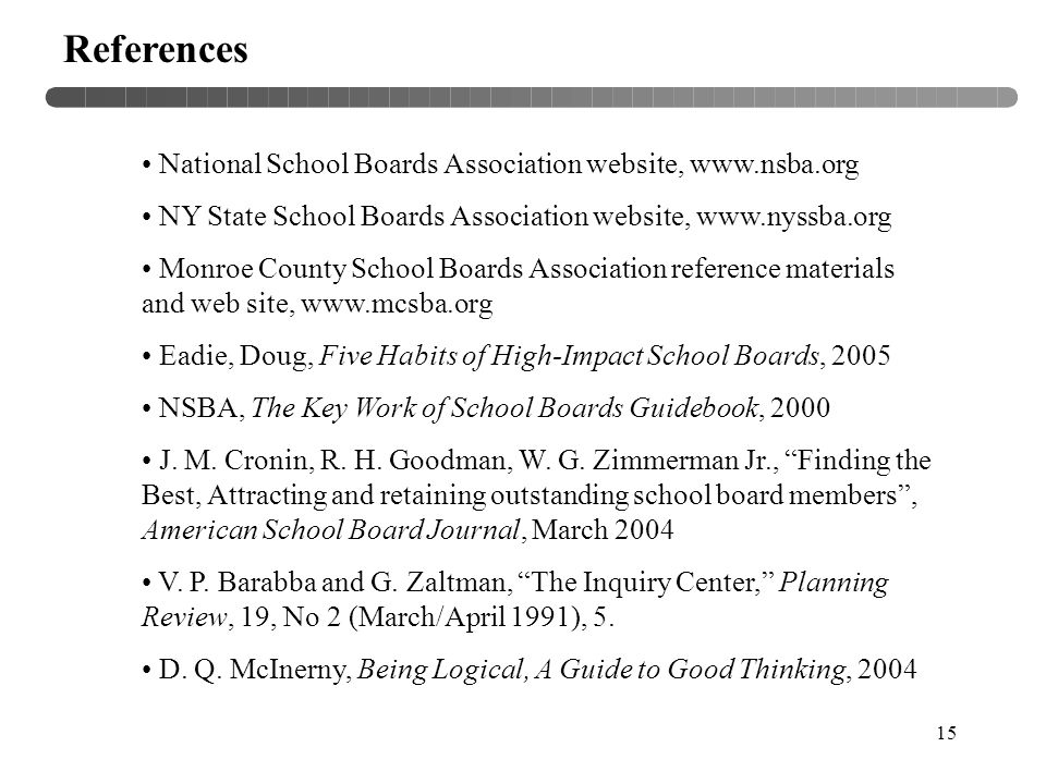 15 References National School Boards Association website, www.nsba.org NY State School Boards Association website, www.nyssba.org Monroe County School Boards Association reference materials and web site, www.mcsba.org Eadie, Doug, Five Habits of High-Impact School Boards, 2005 NSBA, The Key Work of School Boards Guidebook, 2000 J.