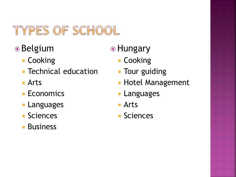  Belgium  Cooking  Technical education  Arts  Economics  Languages  Sciences  Business  Hungary  Cooking  Tour guiding  Hotel Management  Languages  Arts  Sciences
