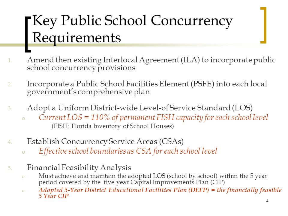 Key Public School Concurrency Requirements 1.