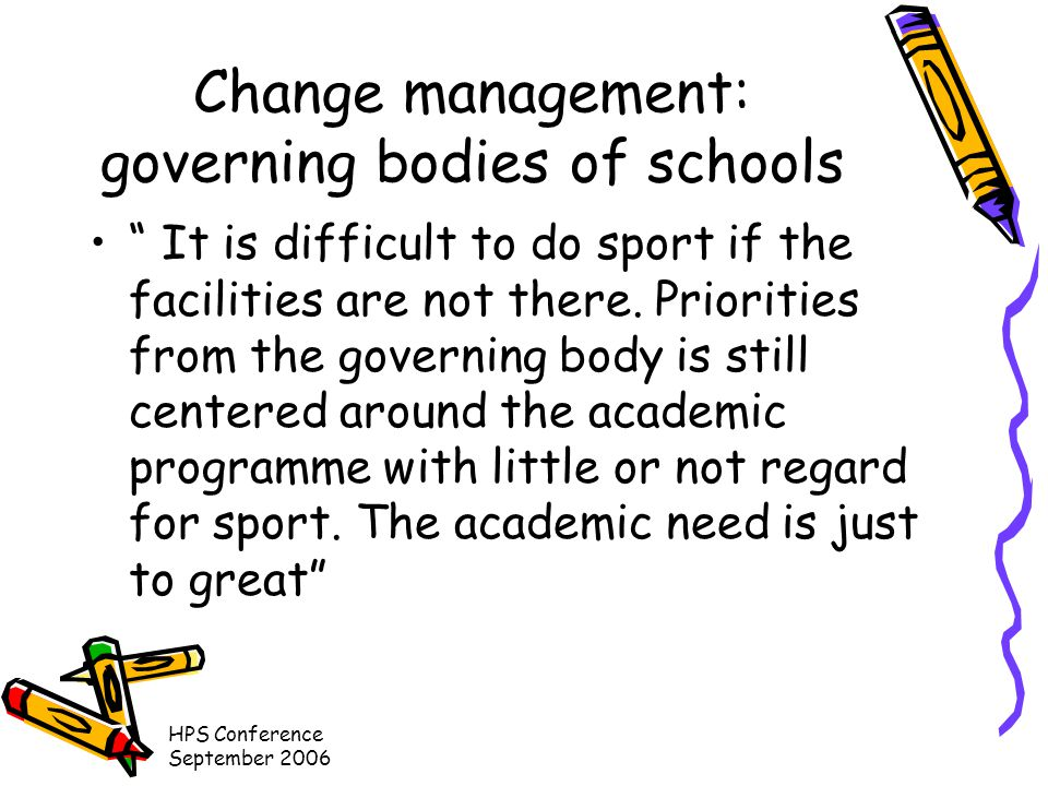 HPS Conference September 2006 Change management: governing bodies of schools It is difficult to do sport if the facilities are not there.