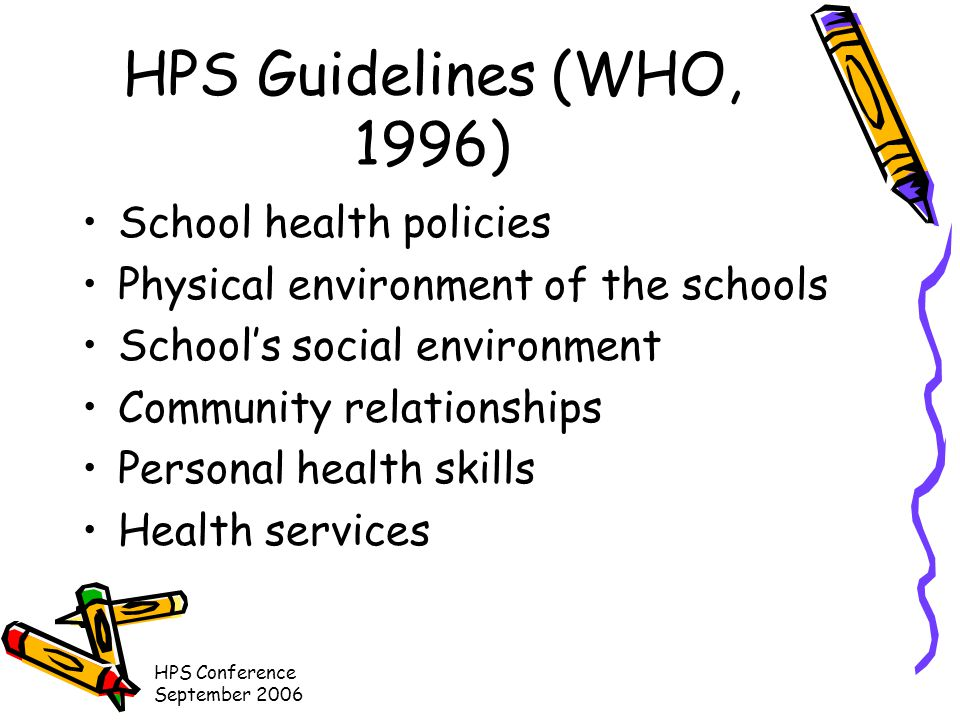 HPS Conference September 2006 Recommendation Themes –Dedicated time in school curriculum –Qualified teachers –Co-operation between schools, community and tertiary institutions –Change management –Facilities –Funding