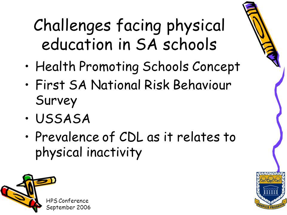 HPS Conference September 2006 Challenges facing physical education in SA schools Health Promoting Schools Concept First SA National Risk Behaviour Survey USSASA Prevalence of CDL as it relates to physical inactivity