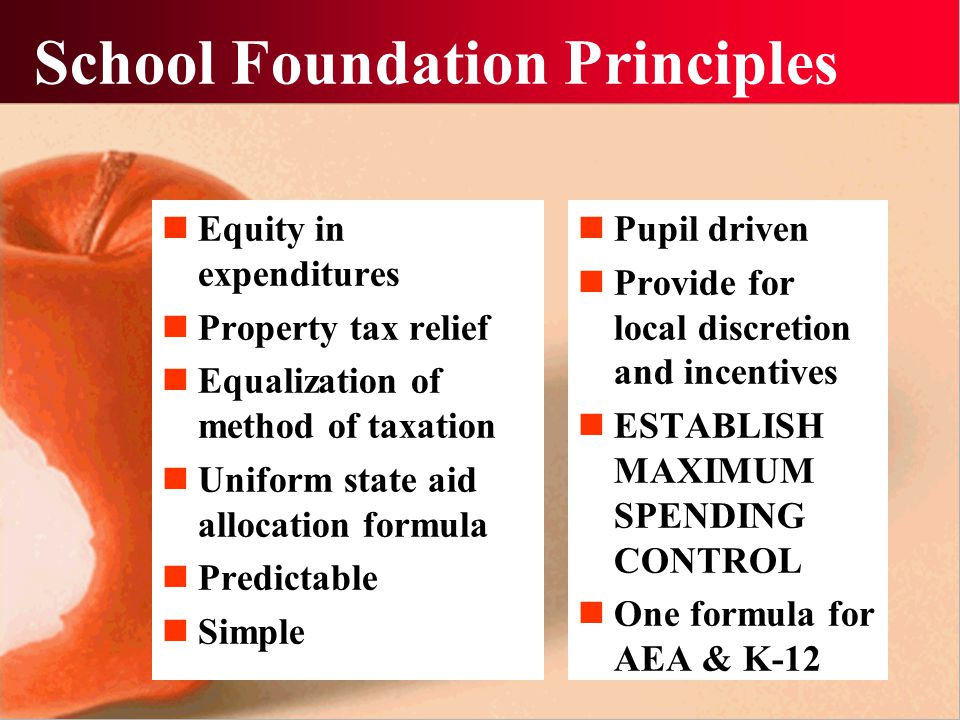 School Foundation Principles Equity in expenditures Property tax relief Equalization of method of taxation Uniform state aid allocation formula Predictable Simple Pupil driven Provide for local discretion and incentives ESTABLISH MAXIMUM SPENDING CONTROL One formula for AEA & K-12