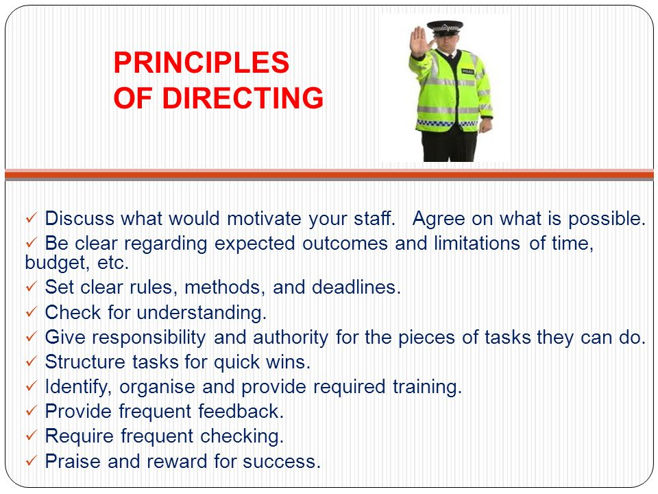 PRINCIPLES OF DIRECTING Discuss what would motivate your staff.
