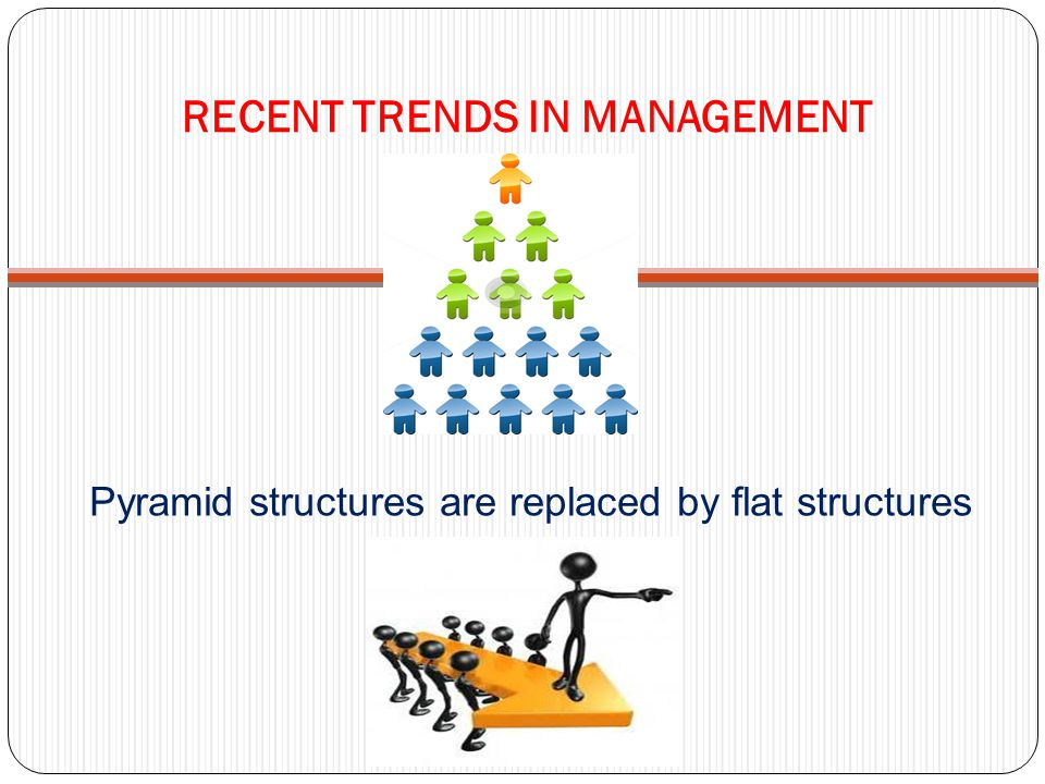 RECENT TRENDS IN MANAGEMENT Pyramid structures are replaced by flat structures