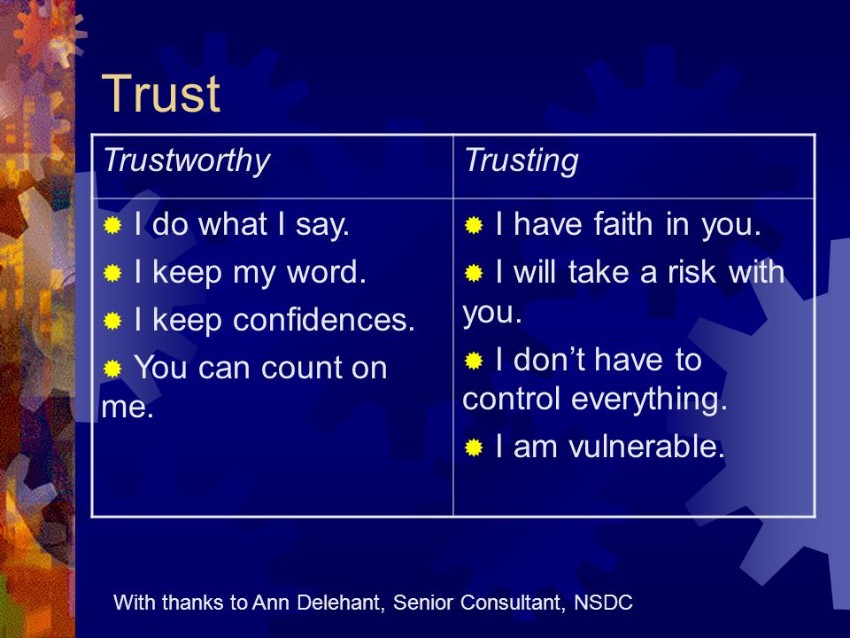 Trust TrustworthyTrusting  I do what I say.  I keep my word.  I keep confidences.  You can count on me.  I have faith in you.  I will take a ris