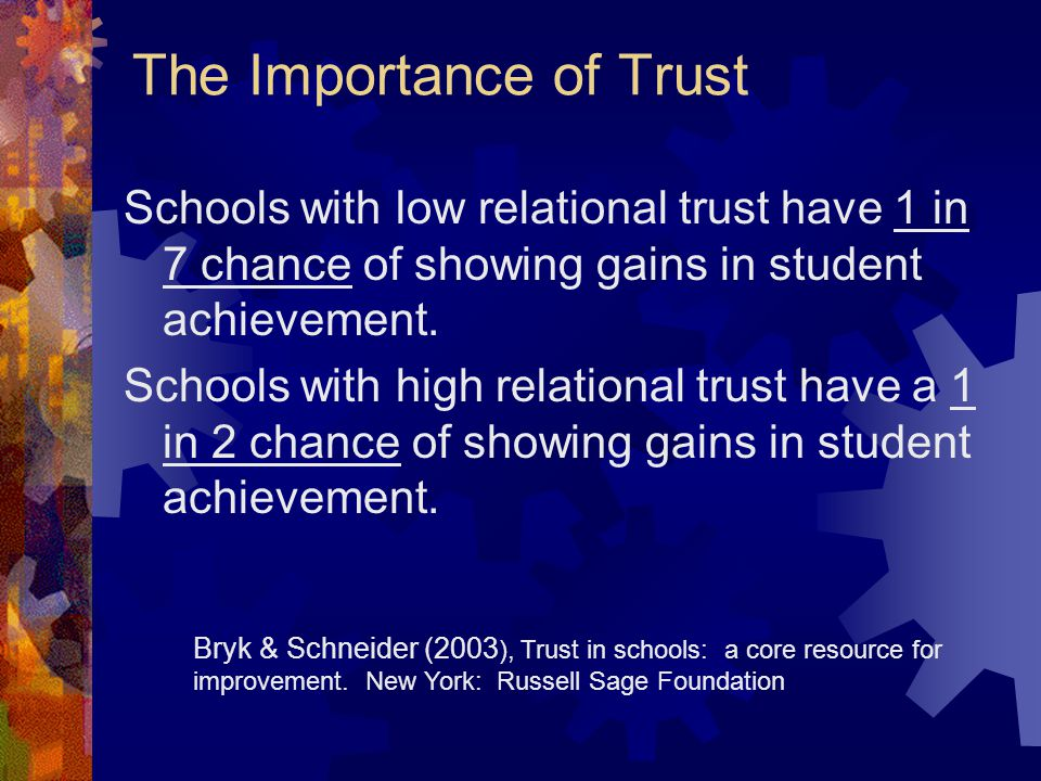 The Importance of Trust Schools with low relational trust have 1 in 7 chance of showing gains in student achievement.