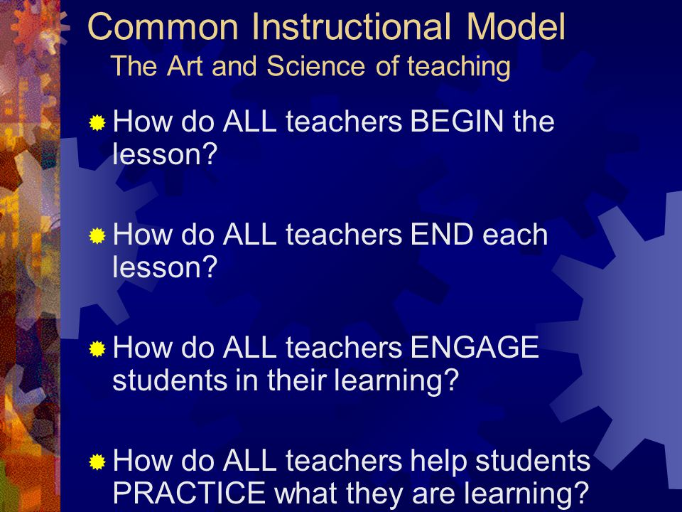 Common Instructional Model The Art and Science of teaching  How do ALL teachers BEGIN the lesson.