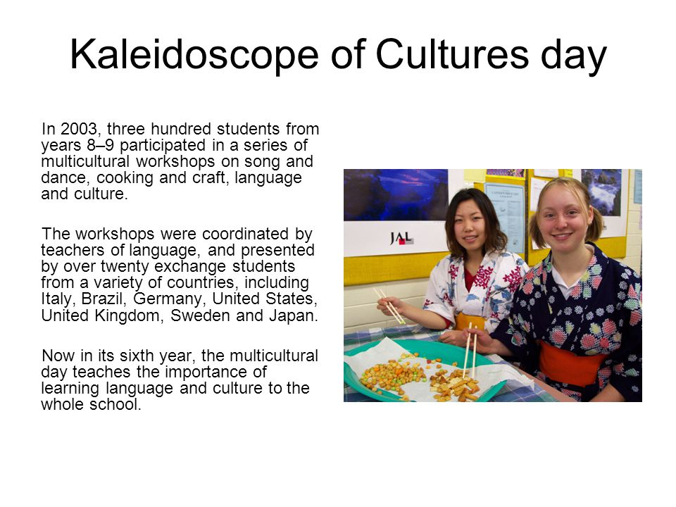 In 2003, three hundred students from years 8–9 participated in a series of multicultural workshops on song and dance, cooking and craft, language and