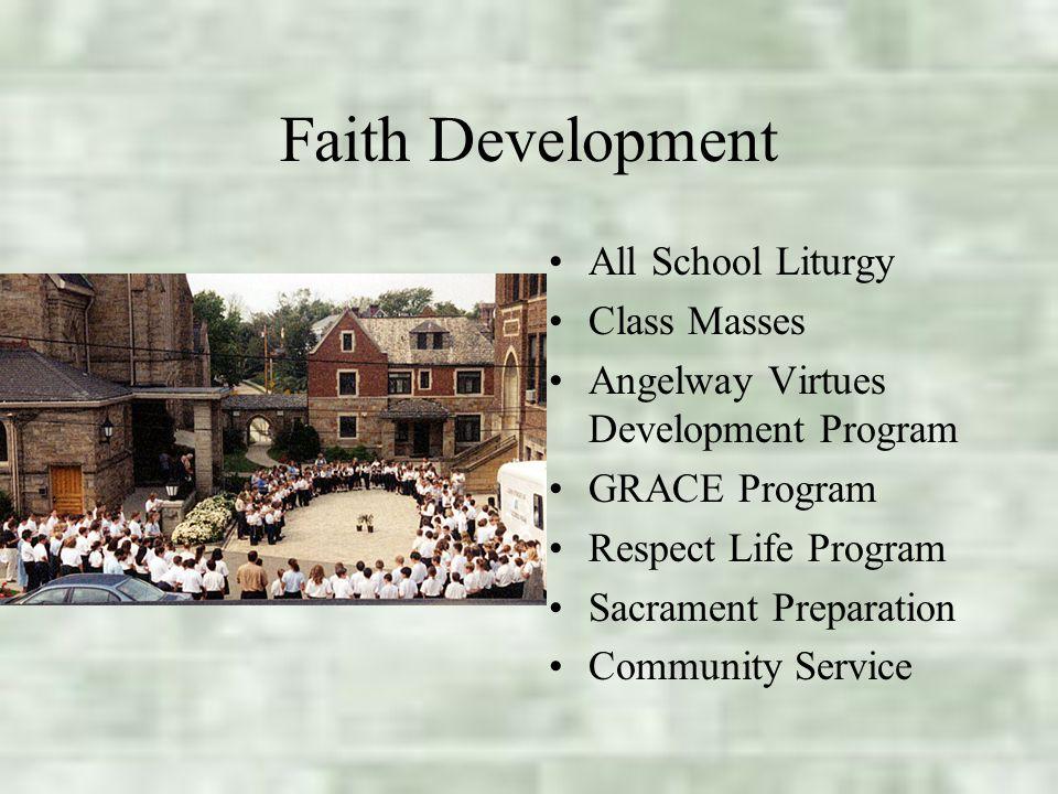 Faith Development All School Liturgy Class Masses Angelway Virtues Development Program GRACE Program Respect Life Program Sacrament Preparation Community Service