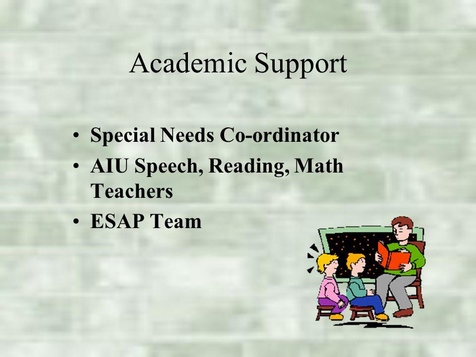 Academic Support Special Needs Co-ordinator AIU Speech, Reading, Math Teachers ESAP Team