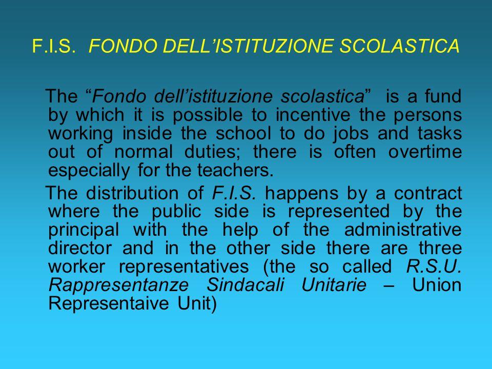 """F.I.S. FONDO DELL'ISTITUZIONE SCOLASTICA The """"Fondo dell'istituzione scolastica"""" is a fund by which it is possible to incentive the persons working in"""