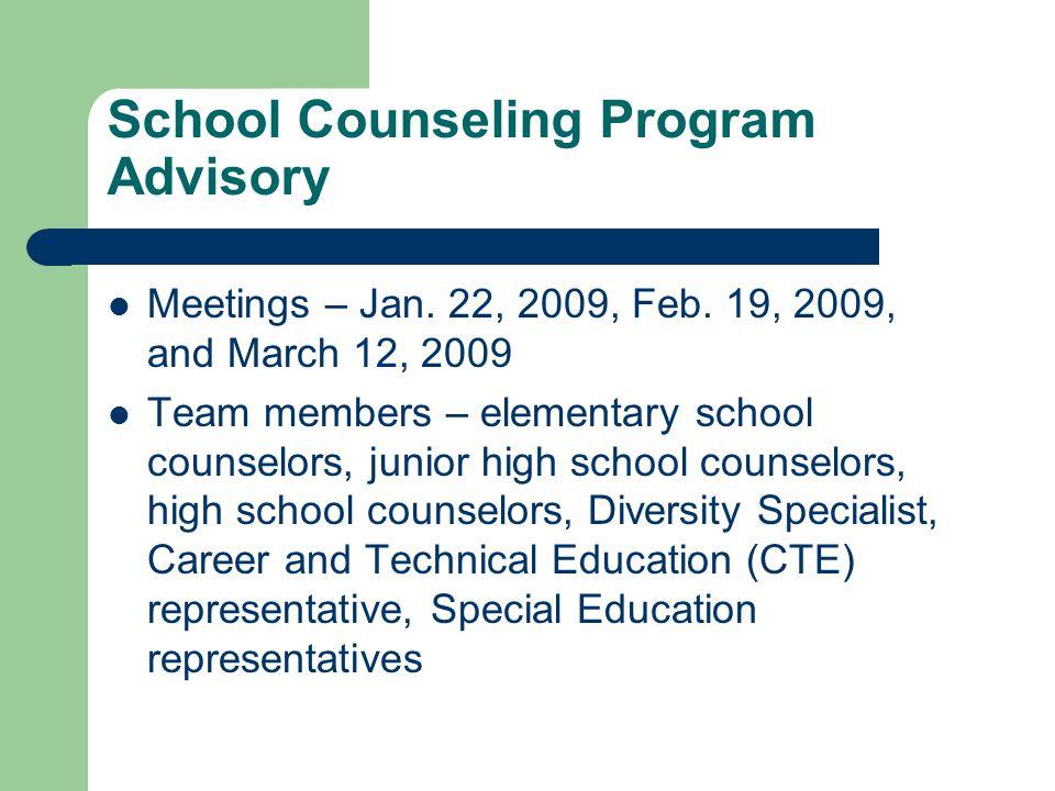 School Counseling Program Advisory Meetings – Jan.