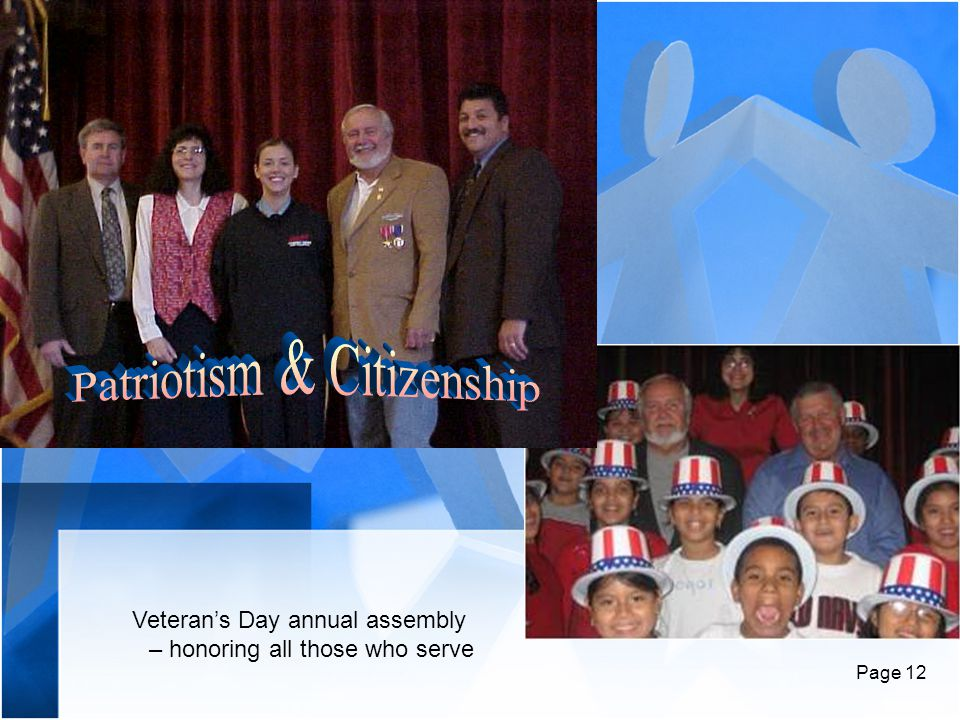 Page 12 Veteran's Day annual assembly – honoring all those who serve