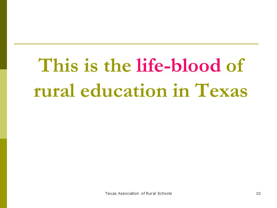 Texas Association of Rural Schools10 This is the life-blood of rural education in Texas