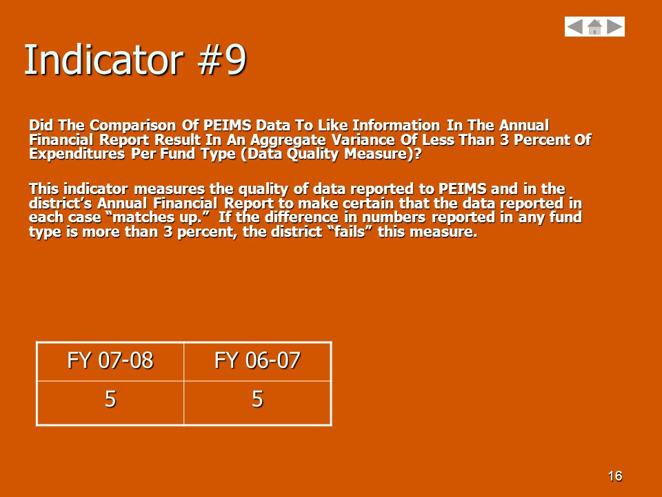16 Indicator #9 Did The Comparison Of PEIMS Data To Like Information In The Annual Financial Report Result In An Aggregate Variance Of Less Than 3 Percent Of Expenditures Per Fund Type (Data Quality Measure).