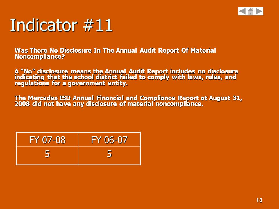 18 Indicator #11 Was There No Disclosure In The Annual Audit Report Of Material Noncompliance.