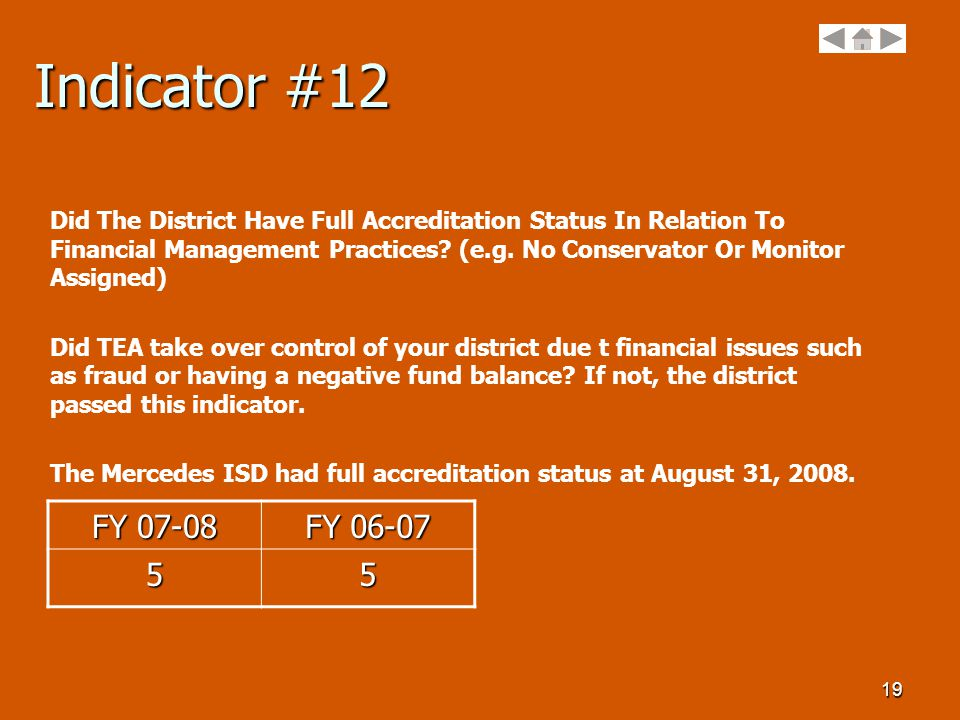 19 Indicator #12 Did The District Have Full Accreditation Status In Relation To Financial Management Practices.
