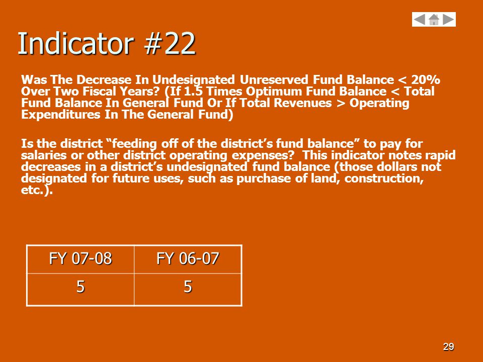 29 Indicator #22 Was The Decrease In Undesignated Unreserved Fund Balance Operating Expenditures In The General Fund) Is the district feeding off of the district's fund balance to pay for salaries or other district operating expenses.