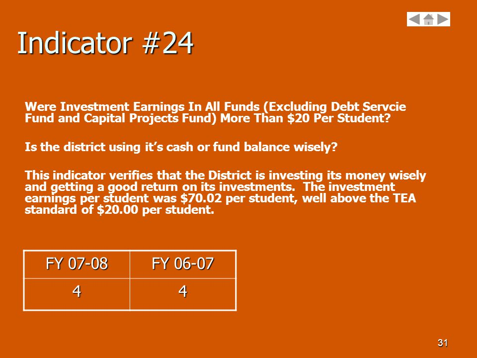 31 Indicator #24 Were Investment Earnings In All Funds (Excluding Debt Servcie Fund and Capital Projects Fund) More Than $20 Per Student.