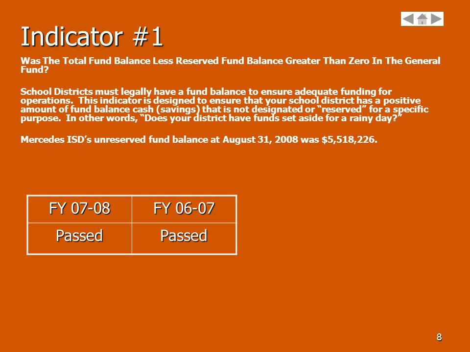 8 Indicator #1 Was The Total Fund Balance Less Reserved Fund Balance Greater Than Zero In The General Fund.