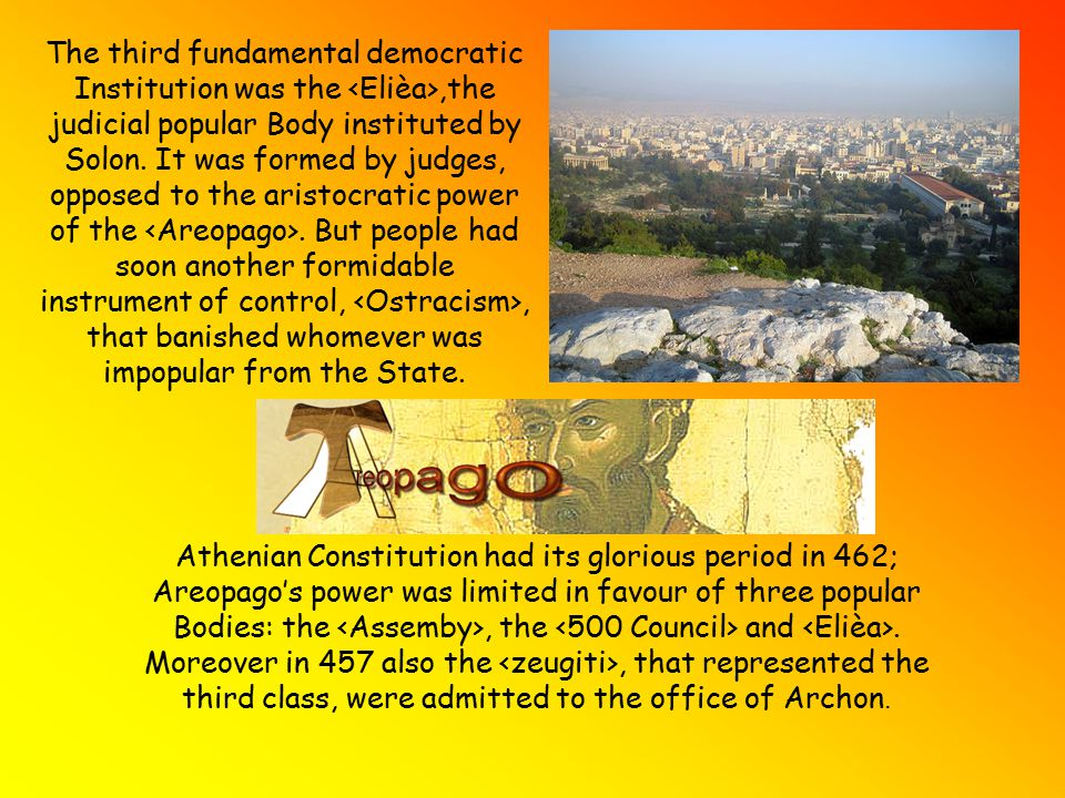Pericles gave, with the, an important development to the Athenian Democracy, permitting the active participation of all political members to the Assembly.