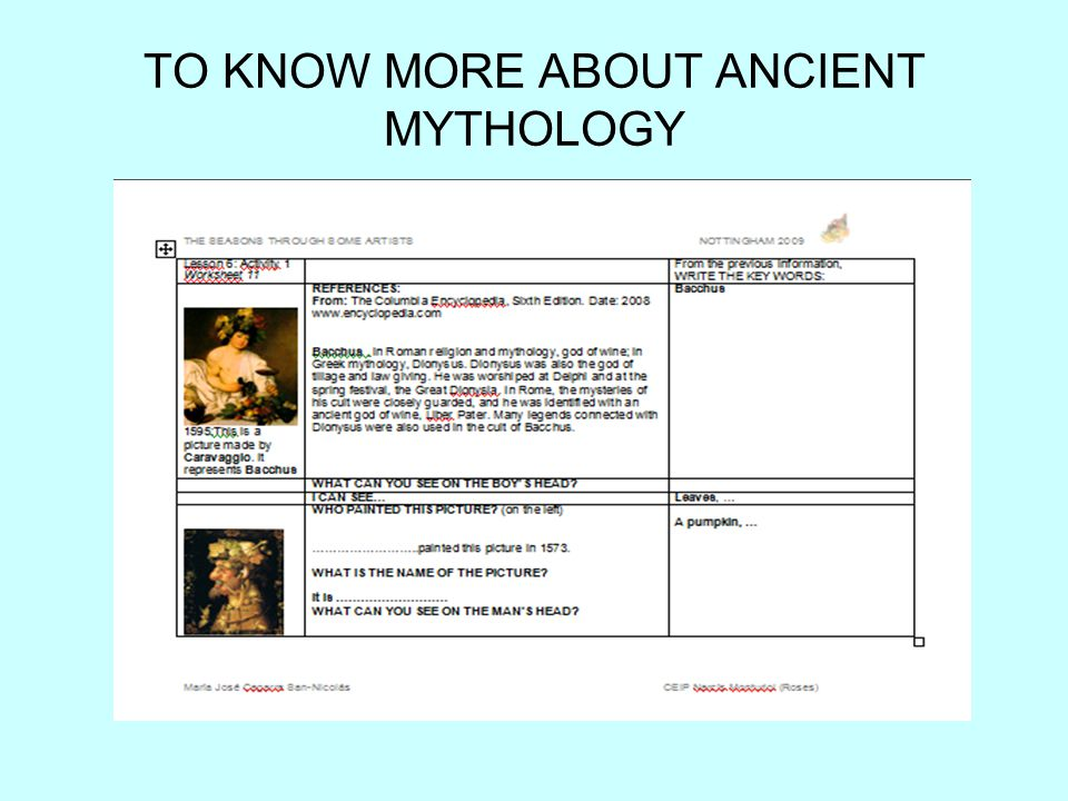 TO KNOW MORE ABOUT ANCIENT MYTHOLOGY
