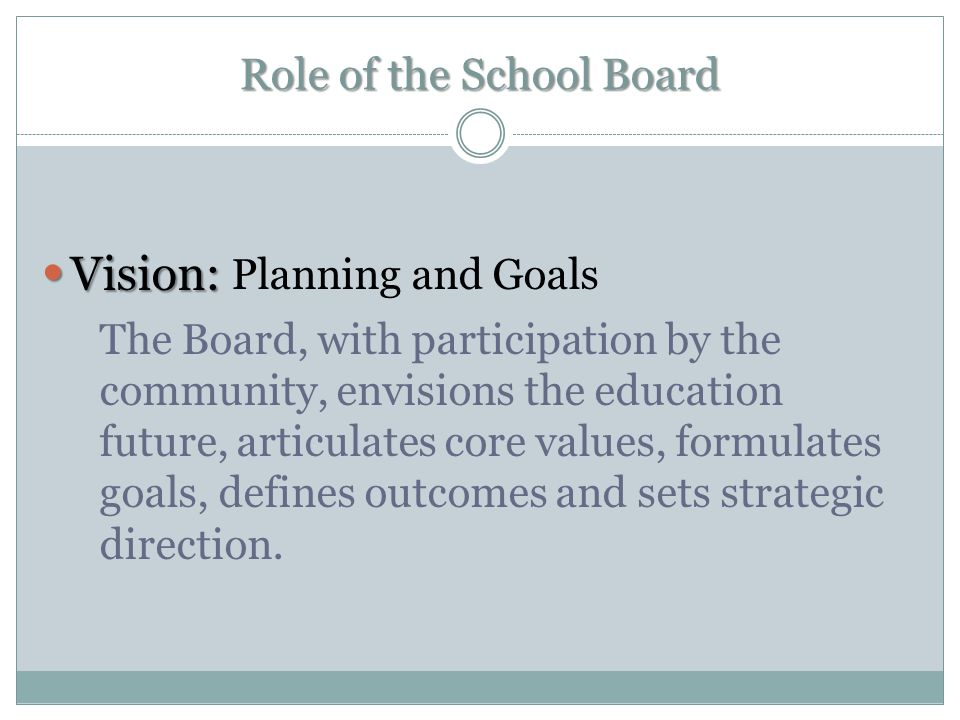 Role of the School Board Structure: Structure: Policies and Operation To achieve the collective vision, the Board creates an organizational framework which enables strategic planning, policy development, budget approval, and setting high instructional standards.
