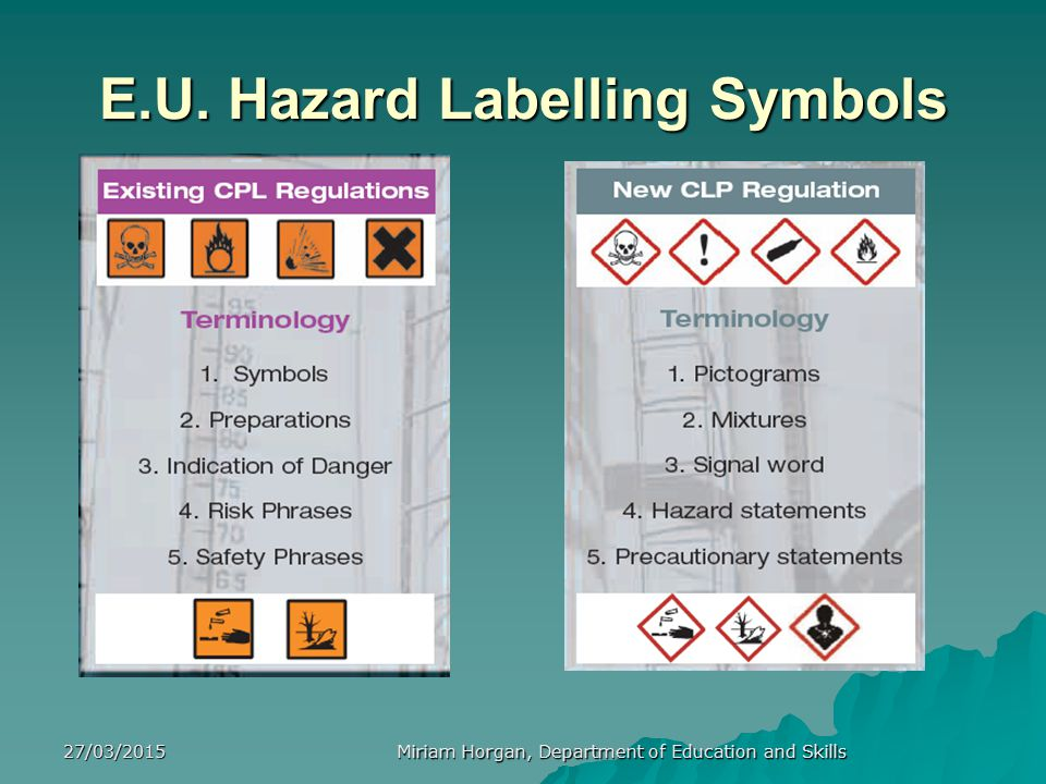 27/03/2015 Miriam Horgan, Department of Education and Skills Further considerations for safe storage of chemicalsInclude:   Only authorised persons should have access to chemical stores, which should be locked when not in use.