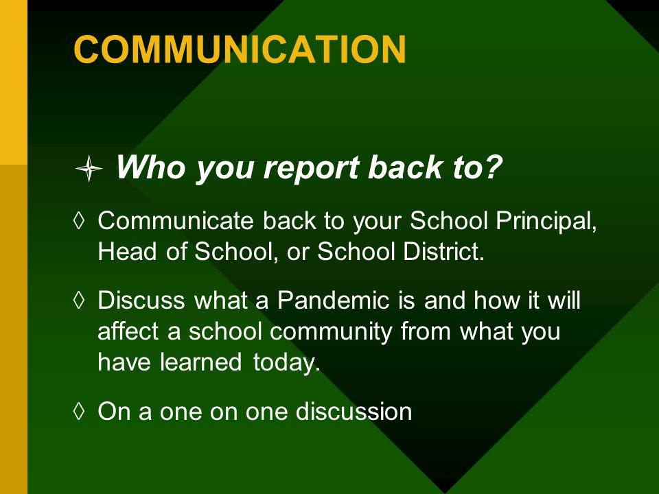 COMMUNICATION Who you report back to.