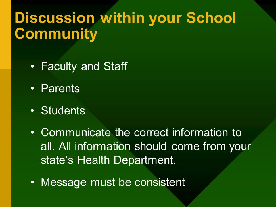Discussion within your School Community Faculty and Staff Parents Students Communicate the correct information to all.