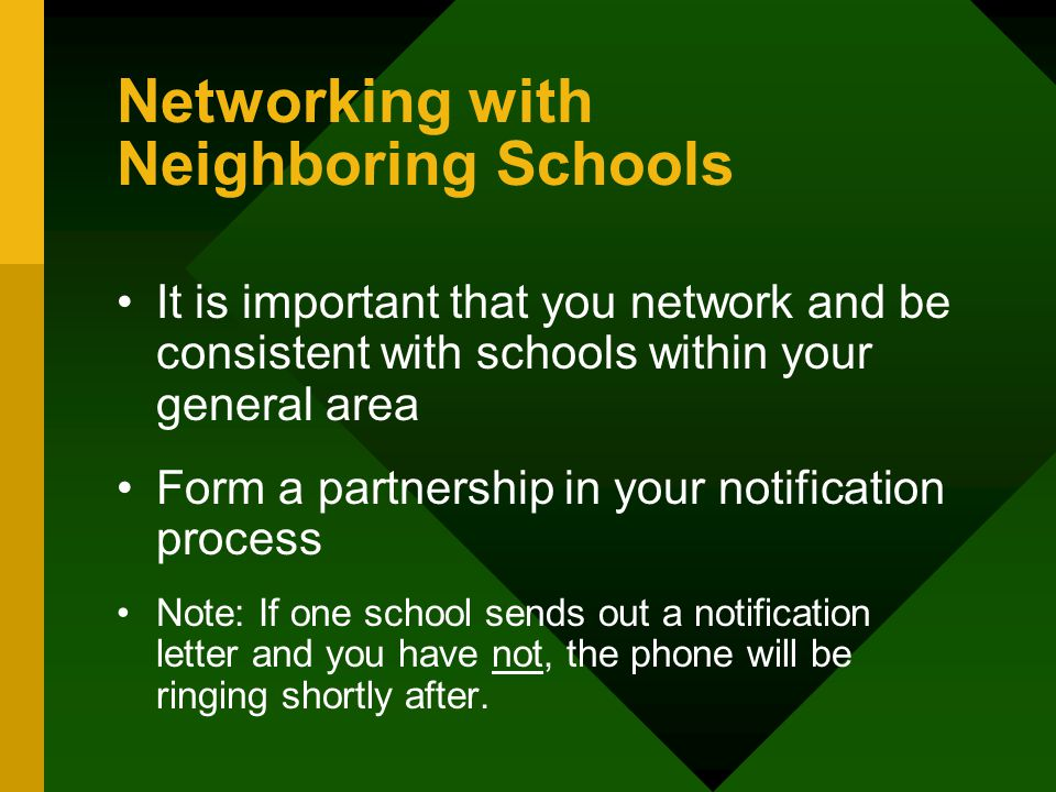 Networking with Neighboring Schools It is important that you network and be consistent with schools within your general area Form a partnership in your notification process Note: If one school sends out a notification letter and you have not, the phone will be ringing shortly after.