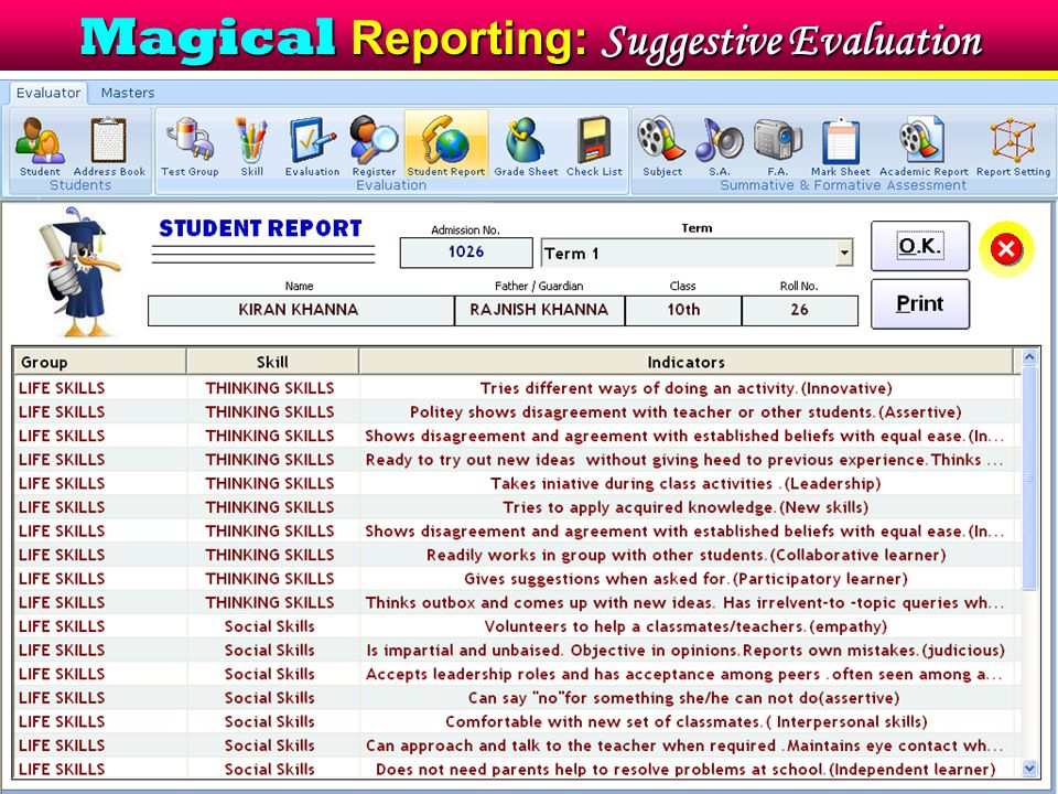 Magical Reporting: Suggestive Evaluation