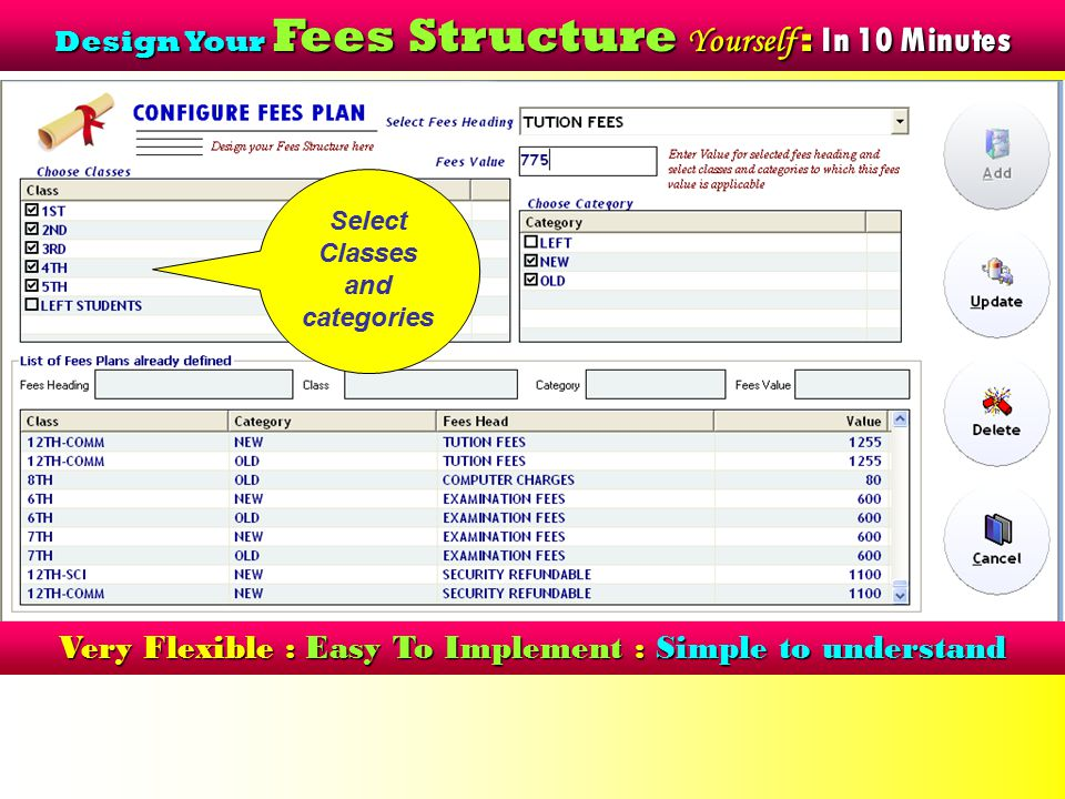 Flexible Fees Concession Setting No Need to remember concession for each student Define Concession in % or Amt for Particular Fees Head